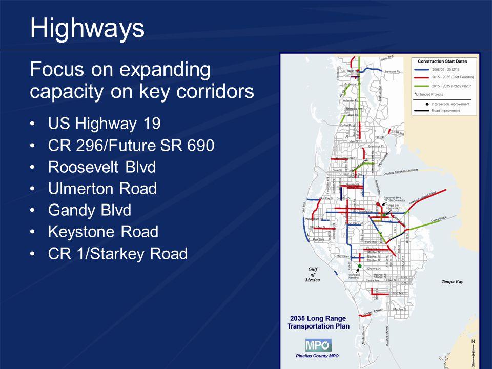 Highways Focus on expanding capacity on key corridors US Highway 19