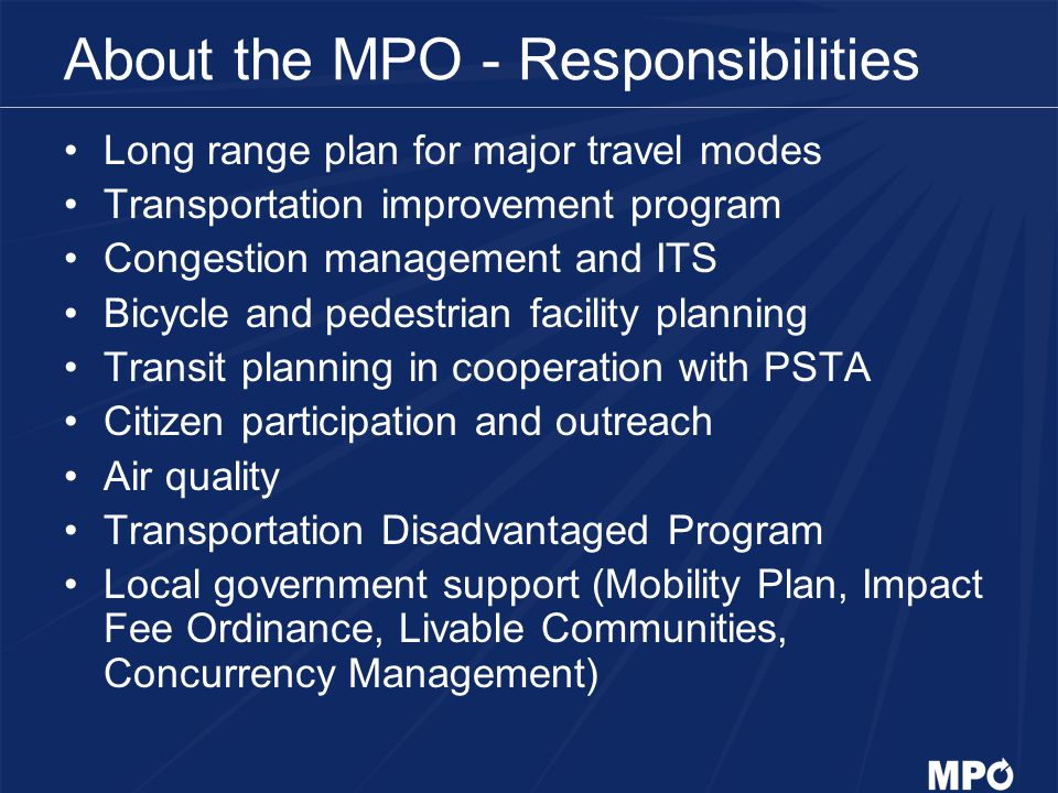 About the MPO - Responsibilities