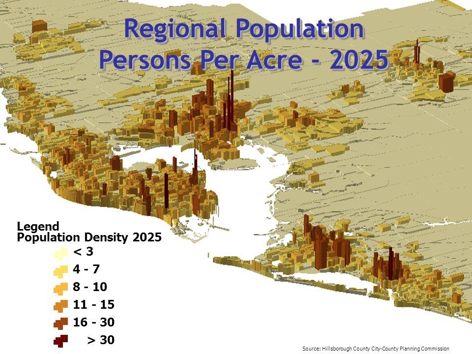 Regional Population Persons Per Acre - 2025