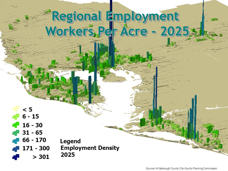 Regional Employment Workers Per Acre - 2025