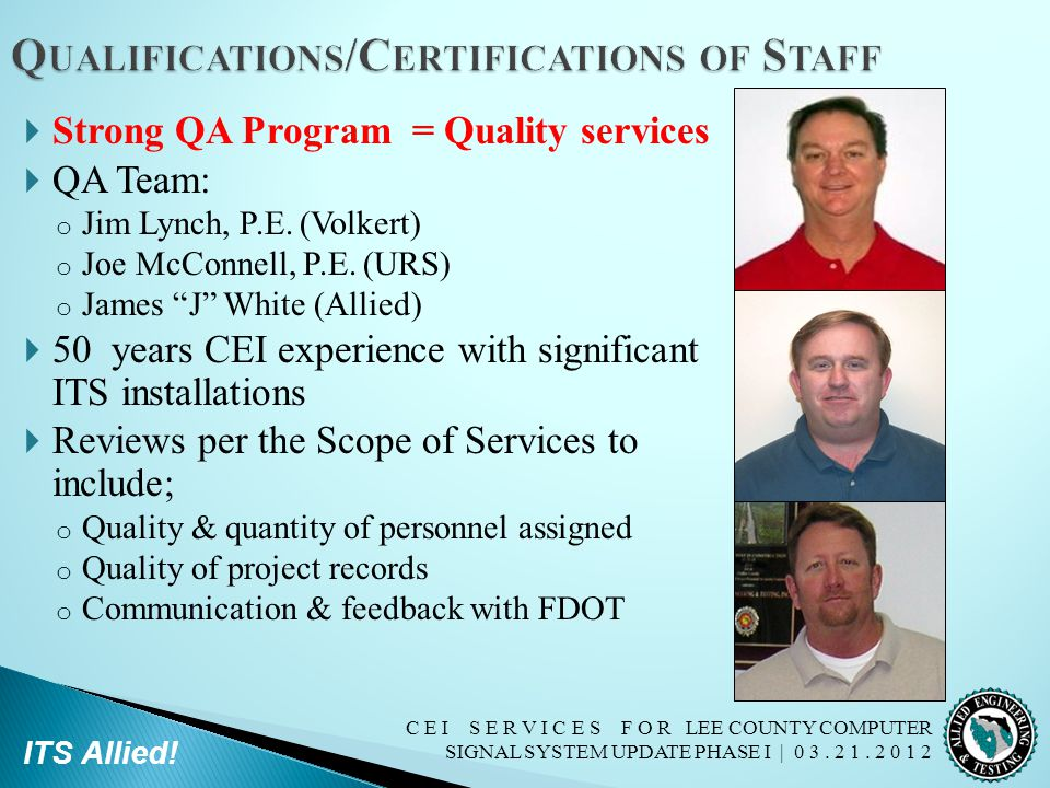 Qualifications/Certifications of Staff