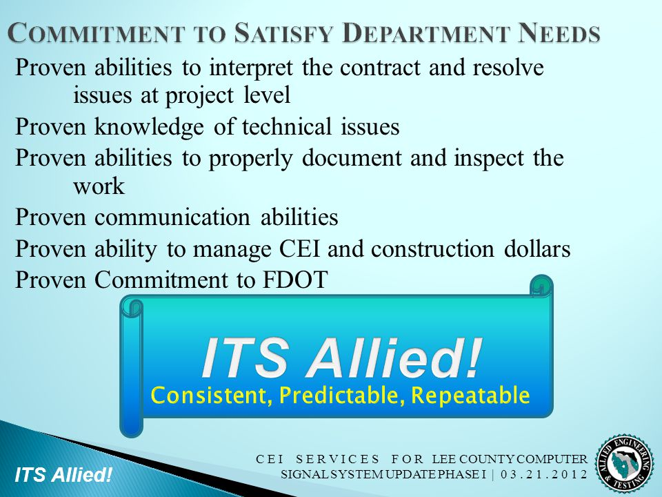 Commitment to Satisfy Department Needs