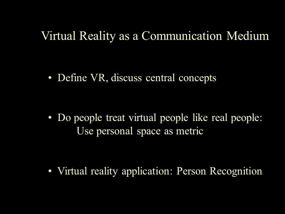 Virtual Reality as a Communication Medium