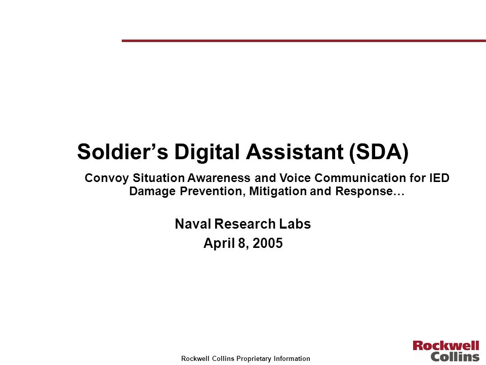 Soldier's Digital Assistant (SDA)