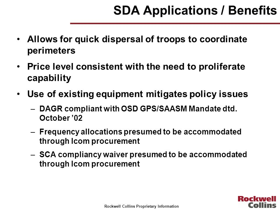 SDA Applications / Benefits