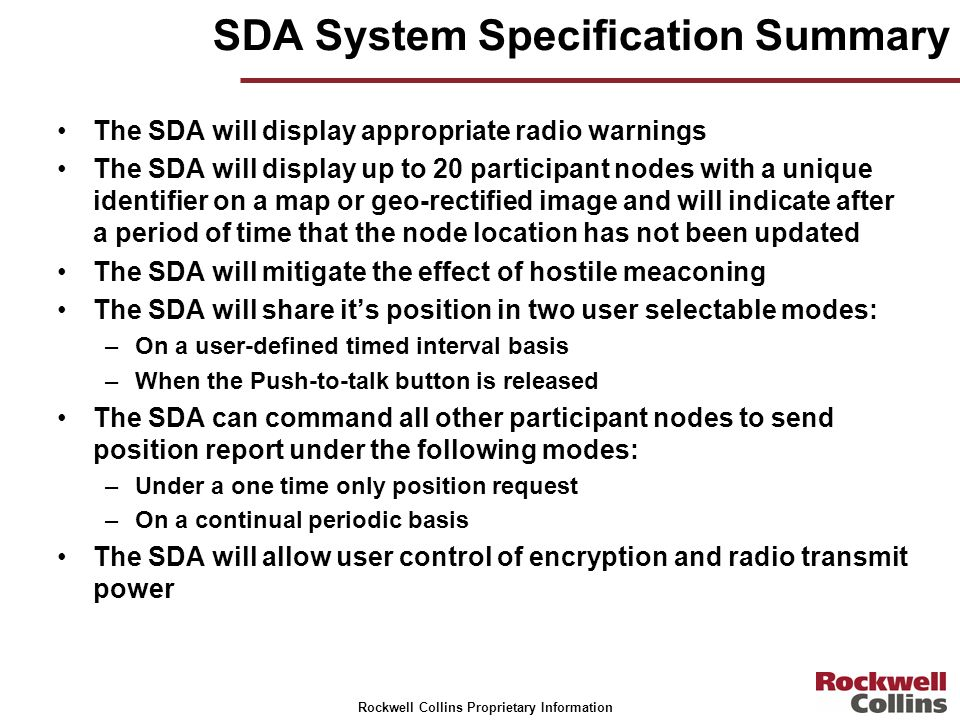 SDA System Specification Summary