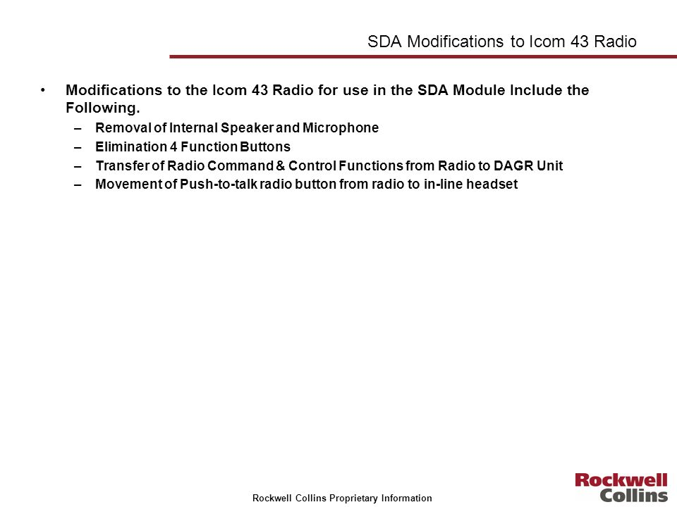 SDA Modifications to Icom 43 Radio