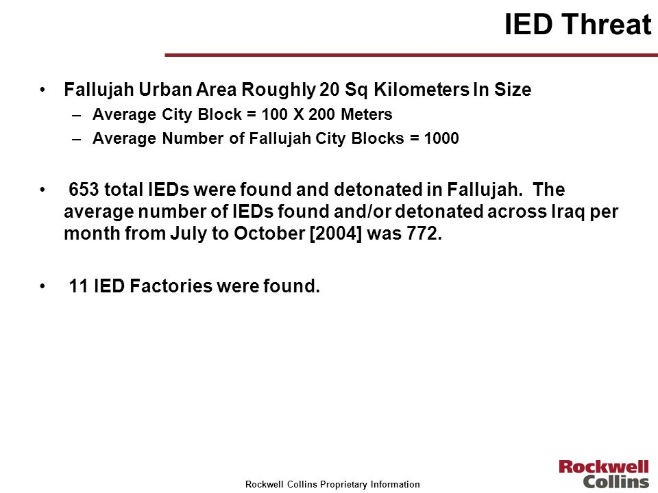 IED Threat Fallujah Urban Area Roughly 20 Sq Kilometers In Size
