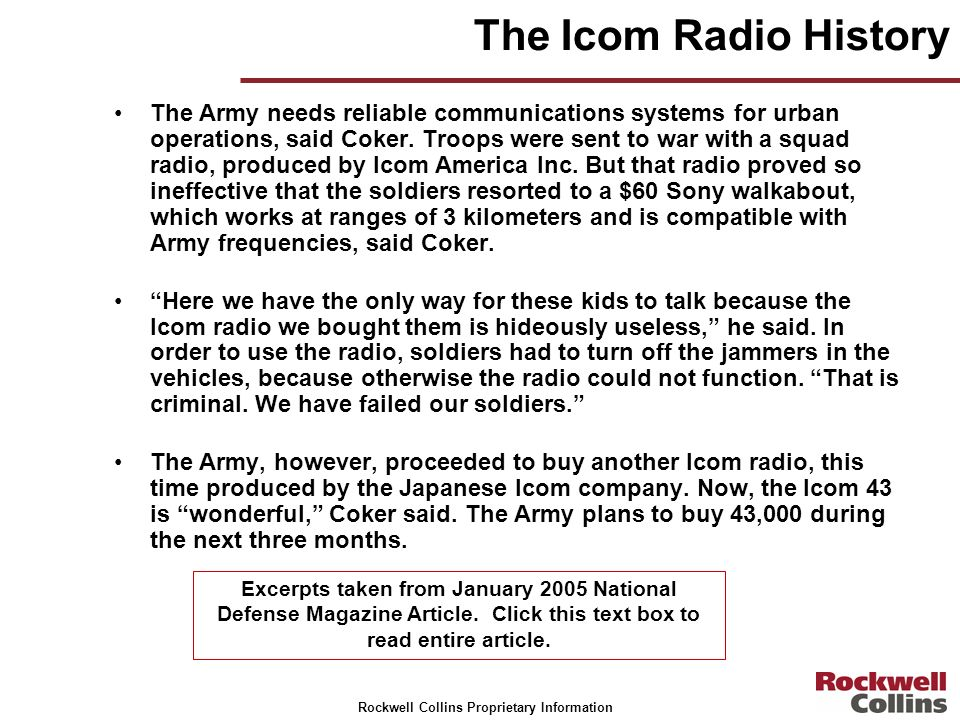 The Icom Radio History