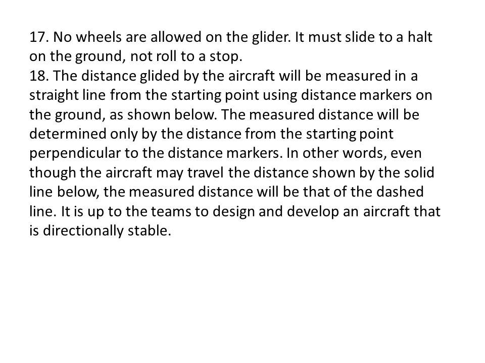 17. No wheels are allowed on the glider