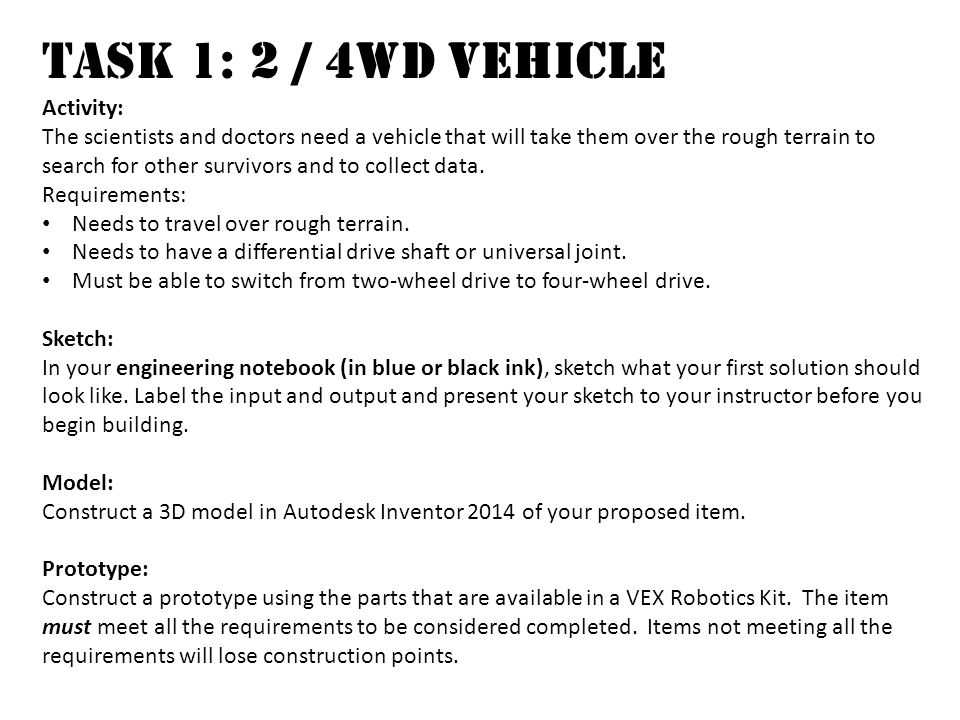 Task 1: 2 / 4wd Vehicle Activity: