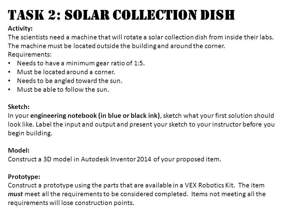 Task 2: Solar Collection Dish