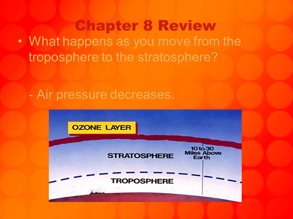 Chapter 8 Review What happens as you move from the troposphere to the stratosphere.