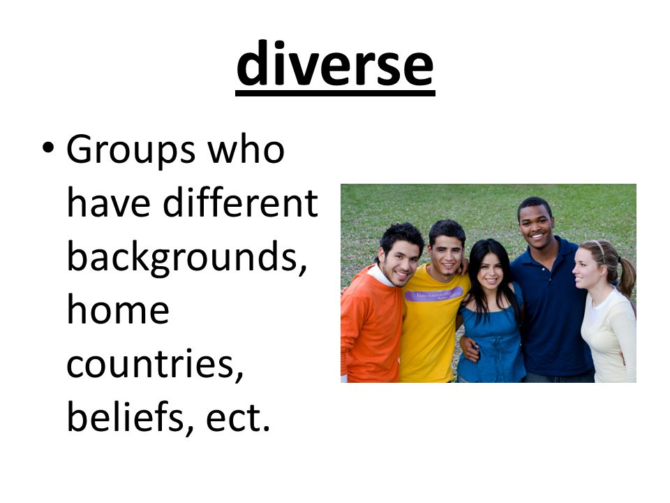 diverse Groups who have different backgrounds, home countries, beliefs, ect.