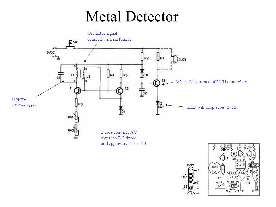 Metal Detector Oscillator signal coupled via transformer