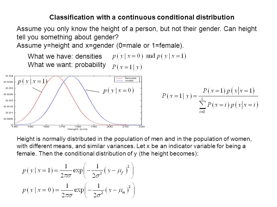 Classification with a continuous conditional distribution