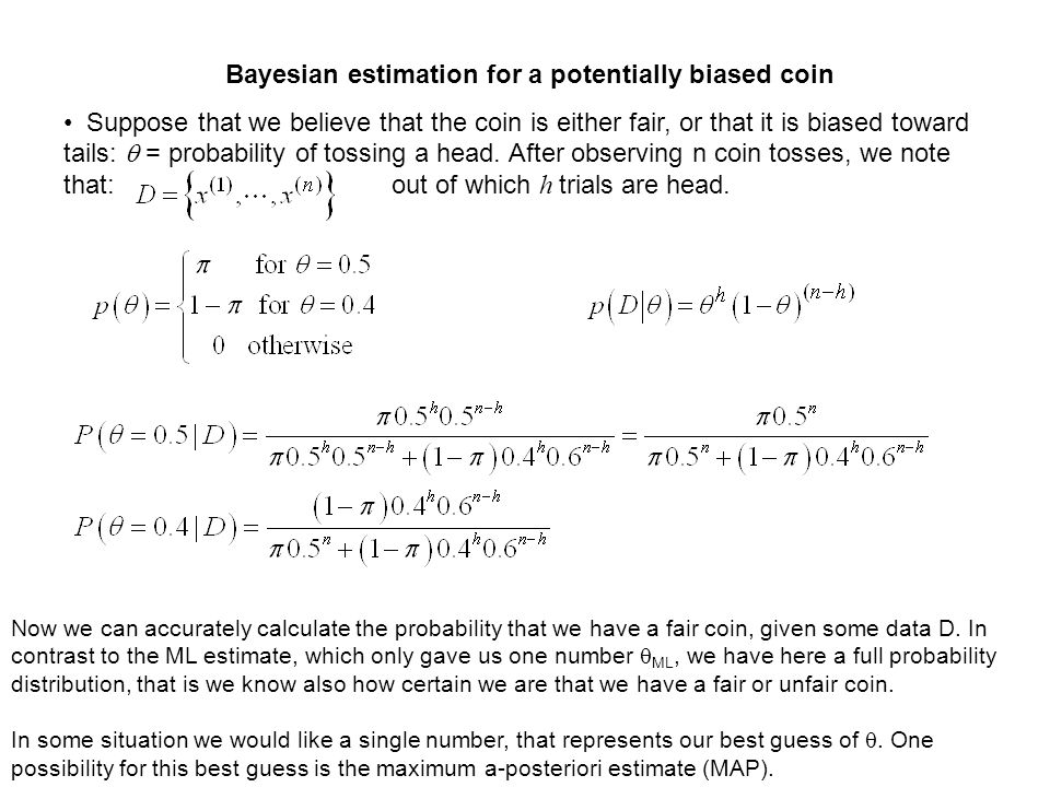 Bayesian estimation for a potentially biased coin