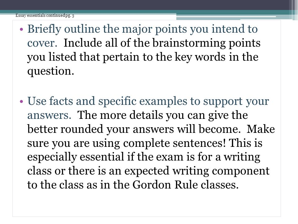 Essay essentials continued pg. 3