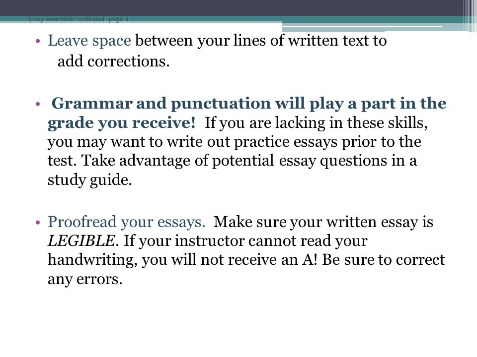 Essay essentials continued page 4