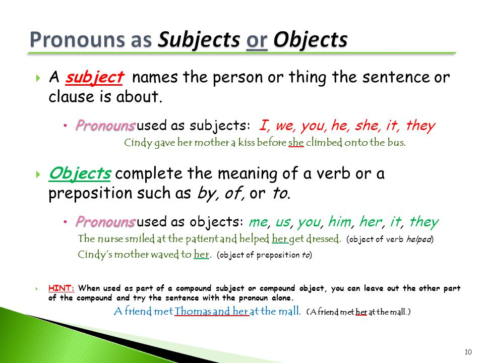 Pronouns as Subjects or Objects