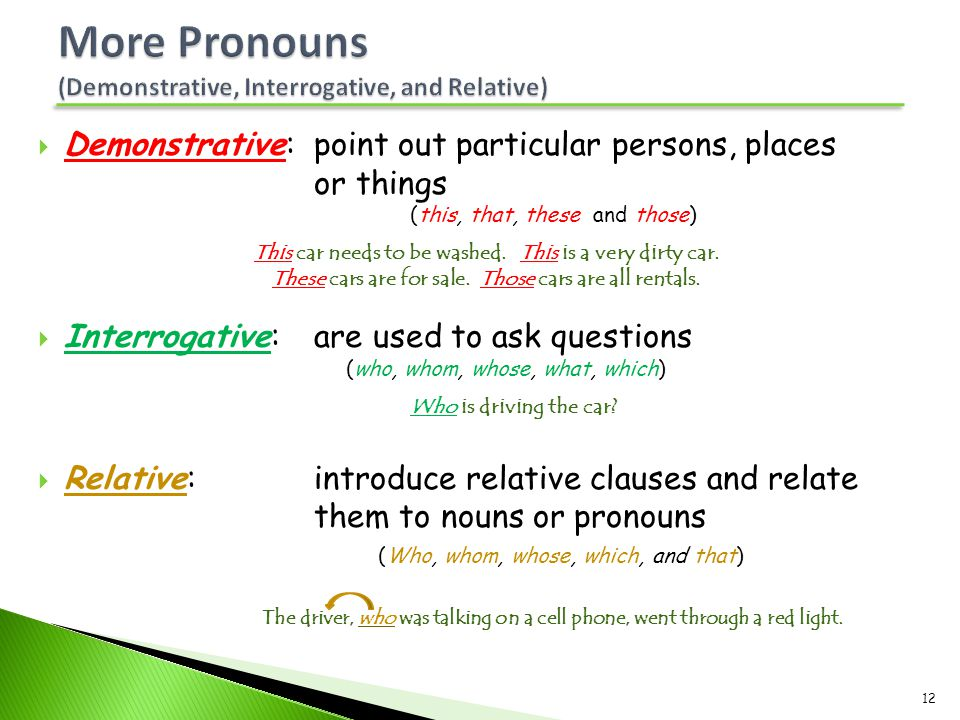 More Pronouns (Demonstrative, Interrogative, and Relative)