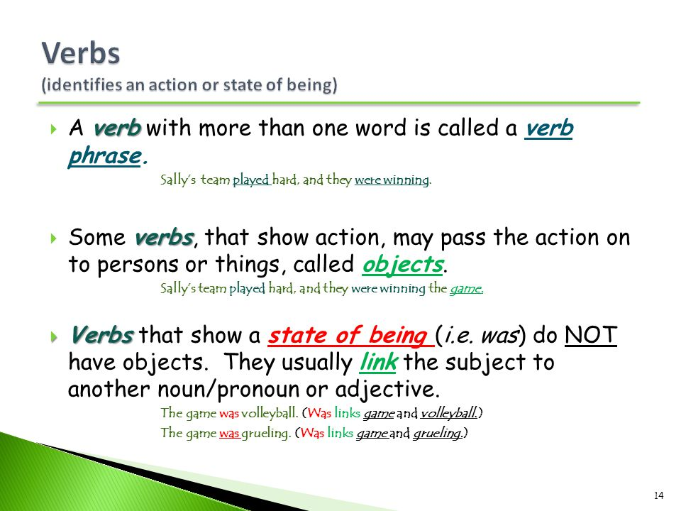 Verbs (identifies an action or state of being)