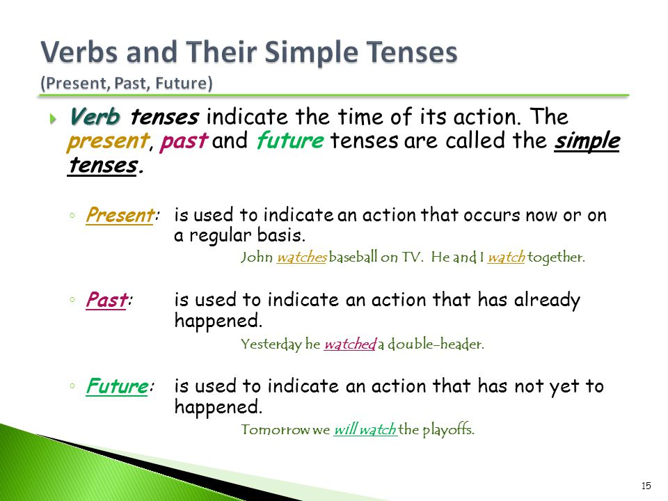 Verbs and Their Simple Tenses (Present, Past, Future)