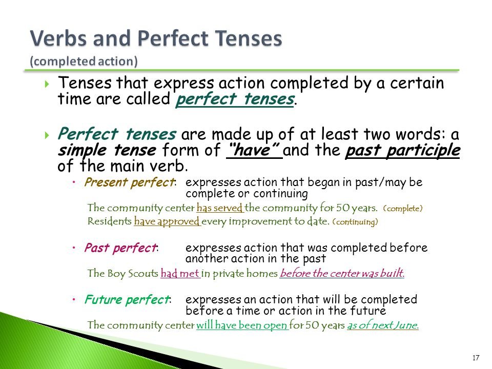 Verbs and Perfect Tenses (completed action)