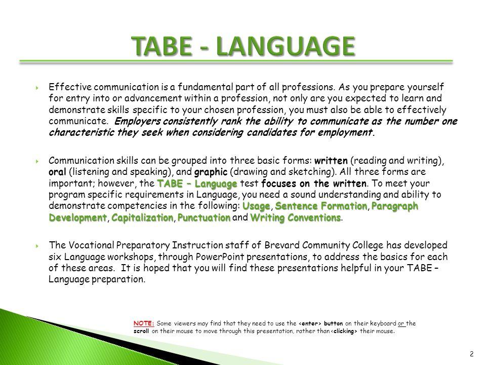 TABE - LANGUAGE