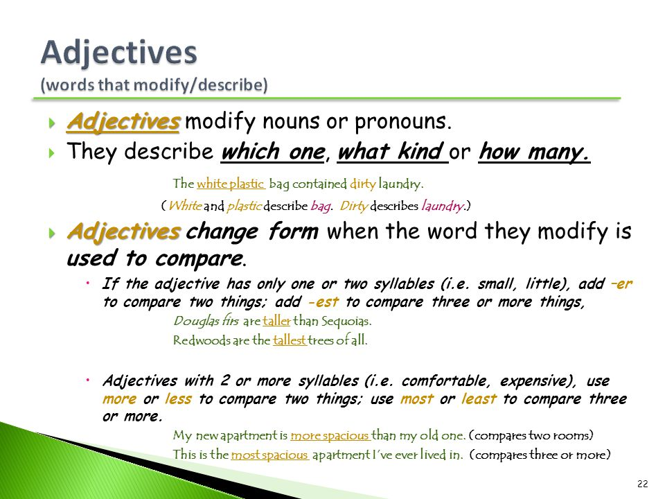 Adjectives (words that modify/describe)