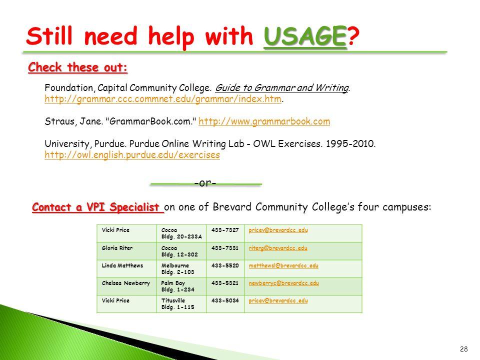 Still need help with USAGE