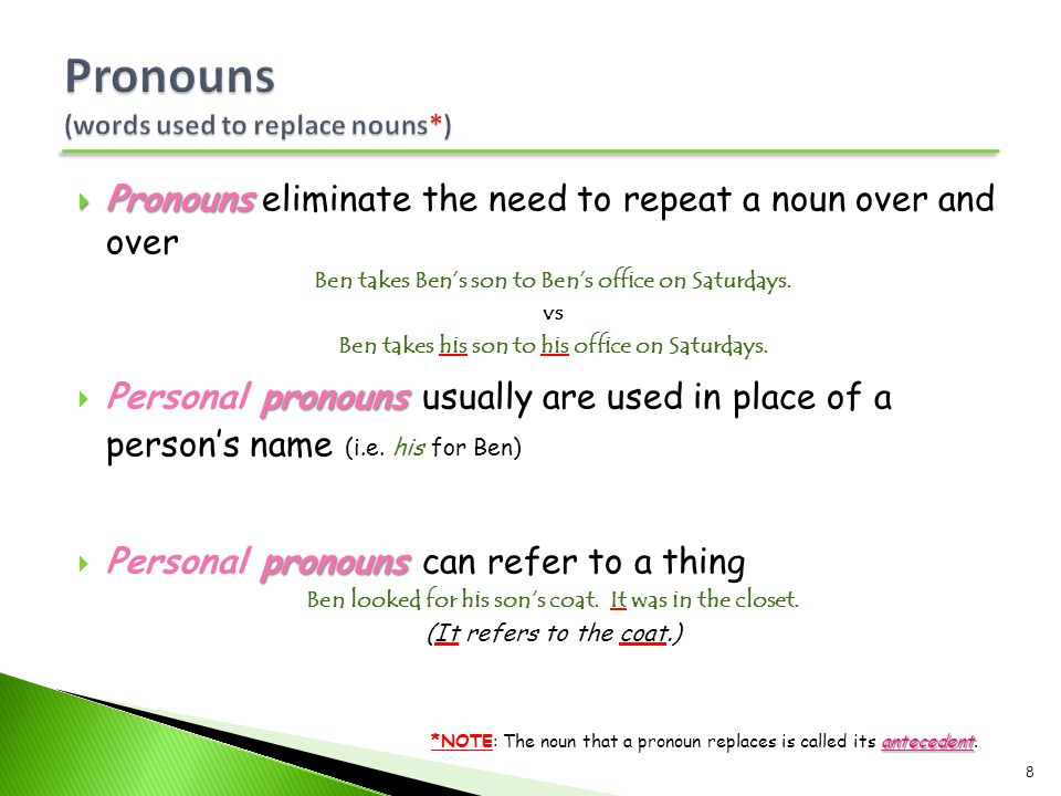 Pronouns (words used to replace nouns*)