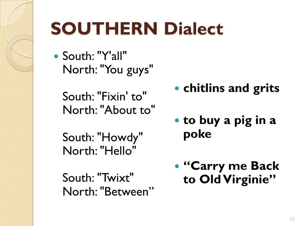 SOUTHERN Dialect