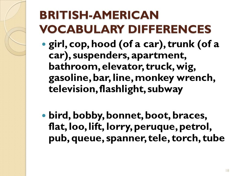 BRITISH-AMERICAN VOCABULARY DIFFERENCES