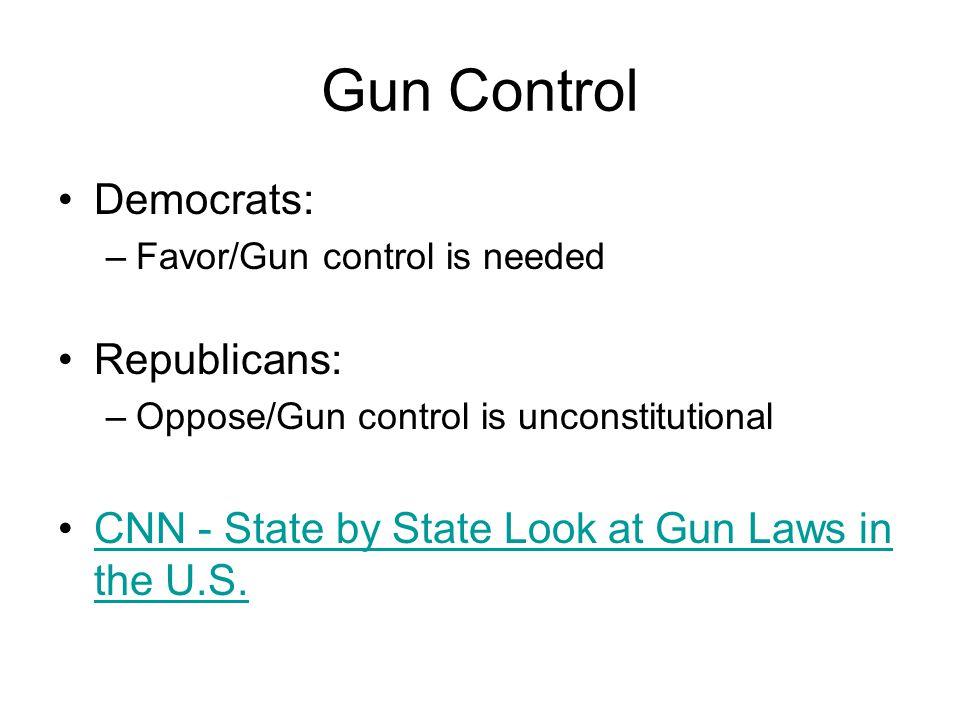 Gun Control Democrats: Republicans: