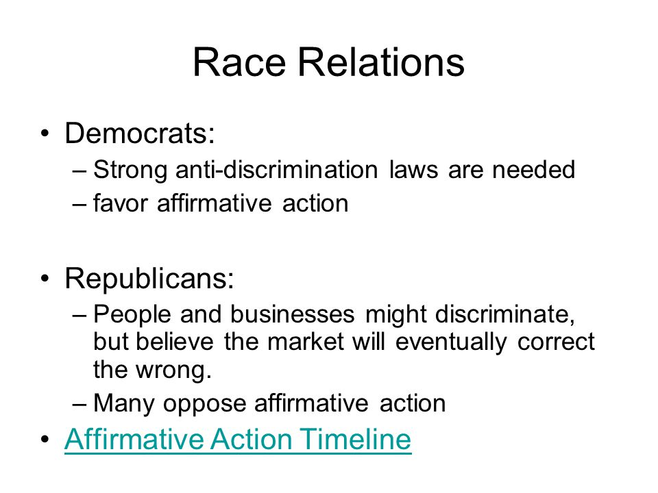 Race Relations Democrats: Republicans: Affirmative Action Timeline