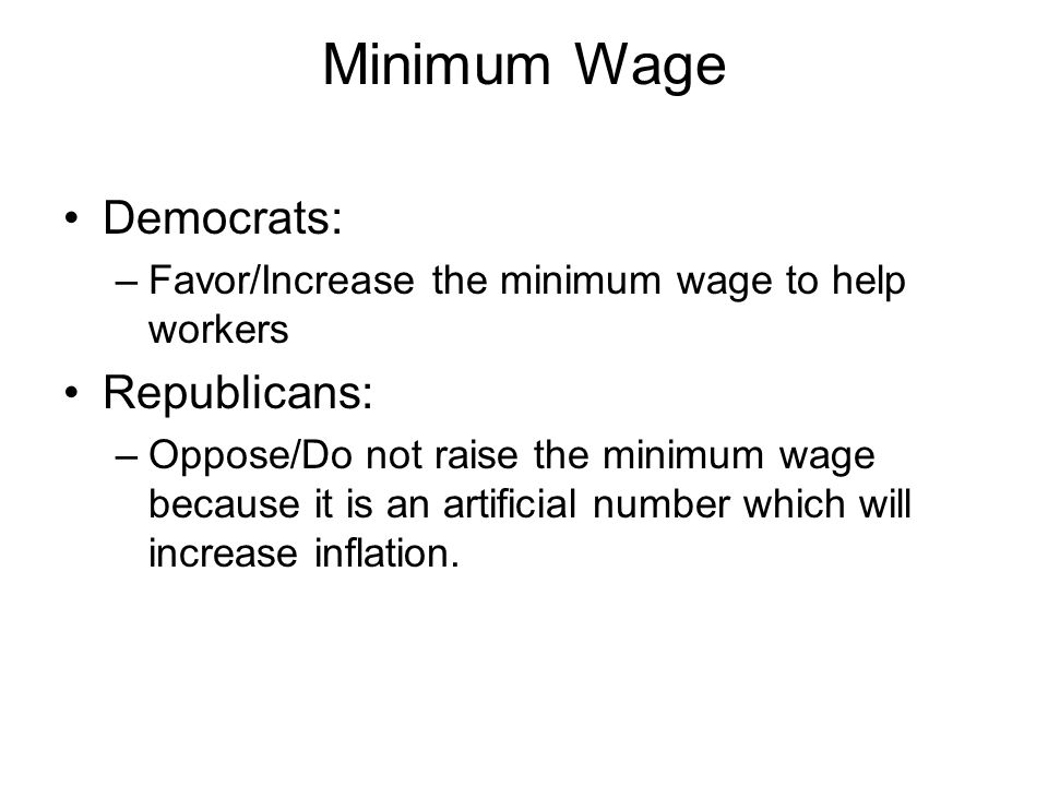 Minimum Wage Democrats: Republicans: