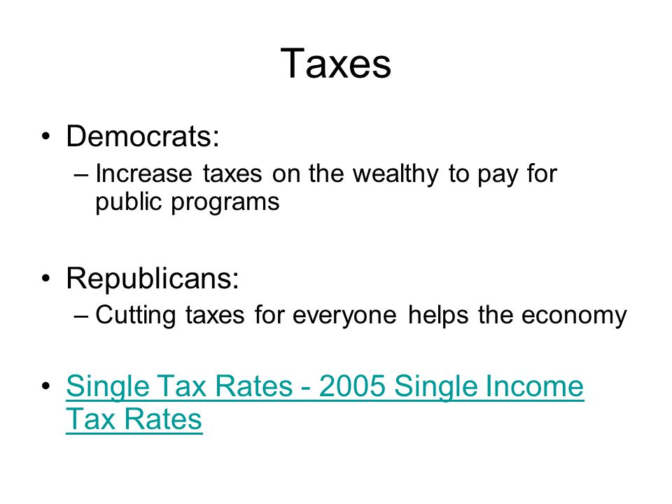 Taxes Democrats: Republicans: