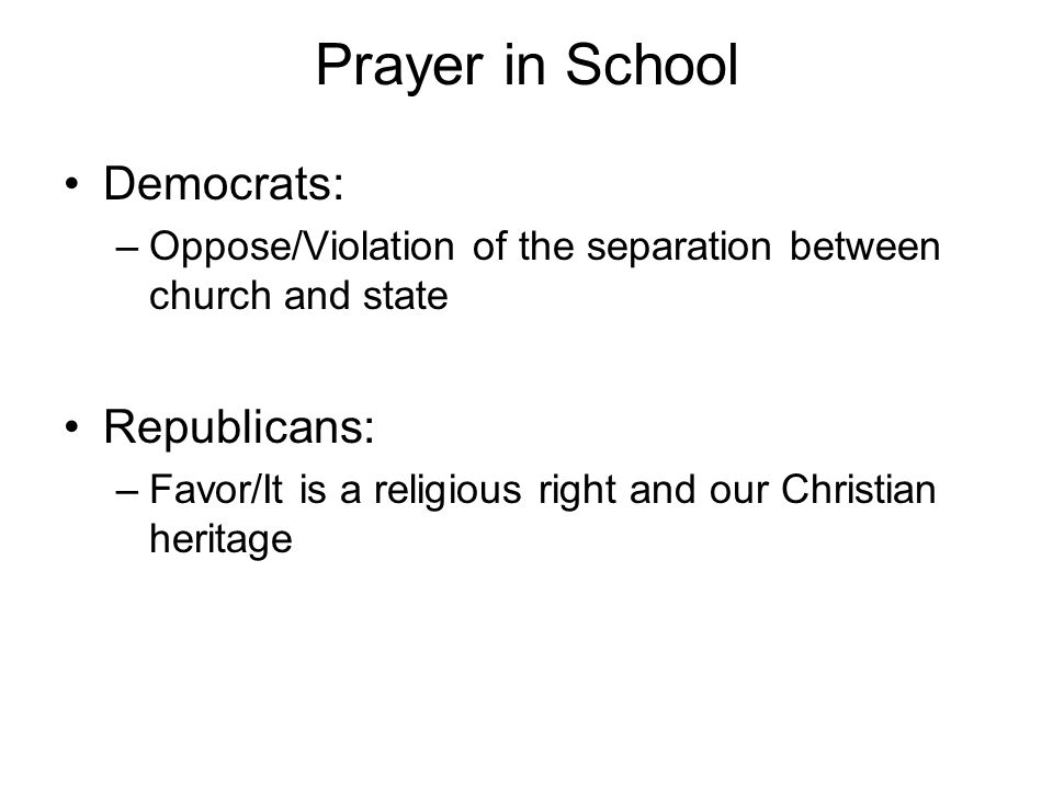 Prayer in School Democrats: Republicans: