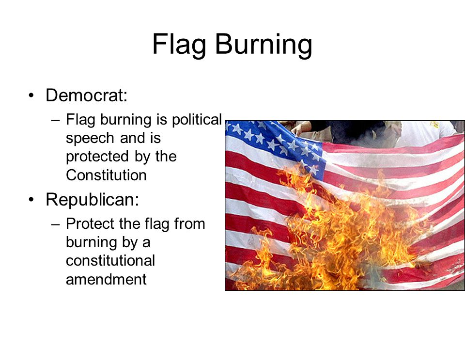 Flag Burning Democrat: Republican:
