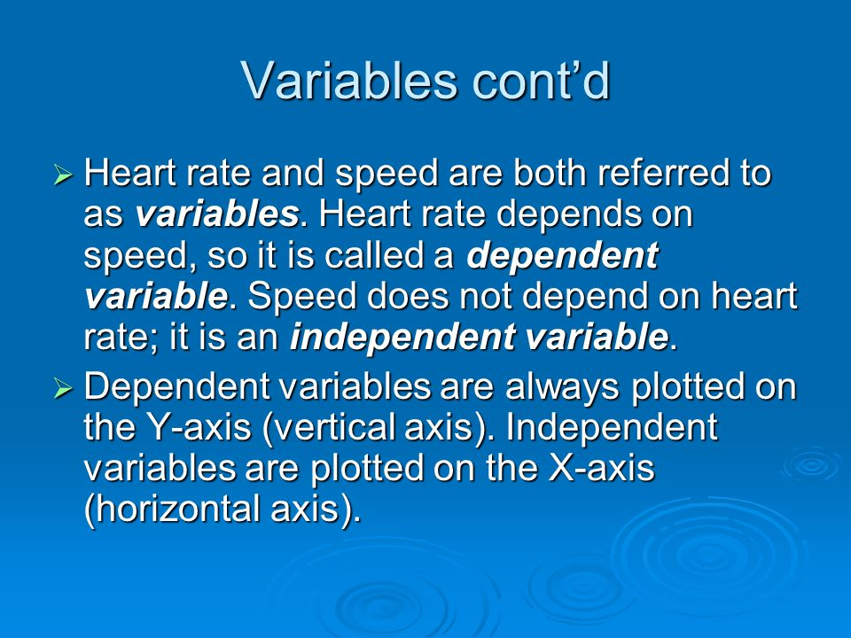 Variables cont'd