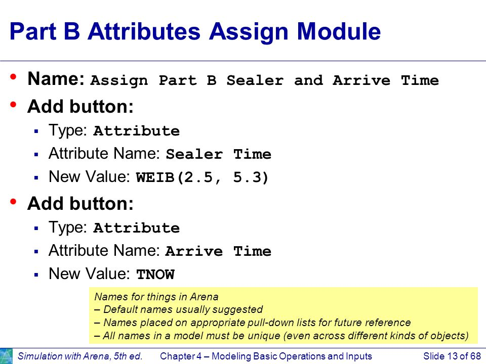 Part B Attributes Assign Module