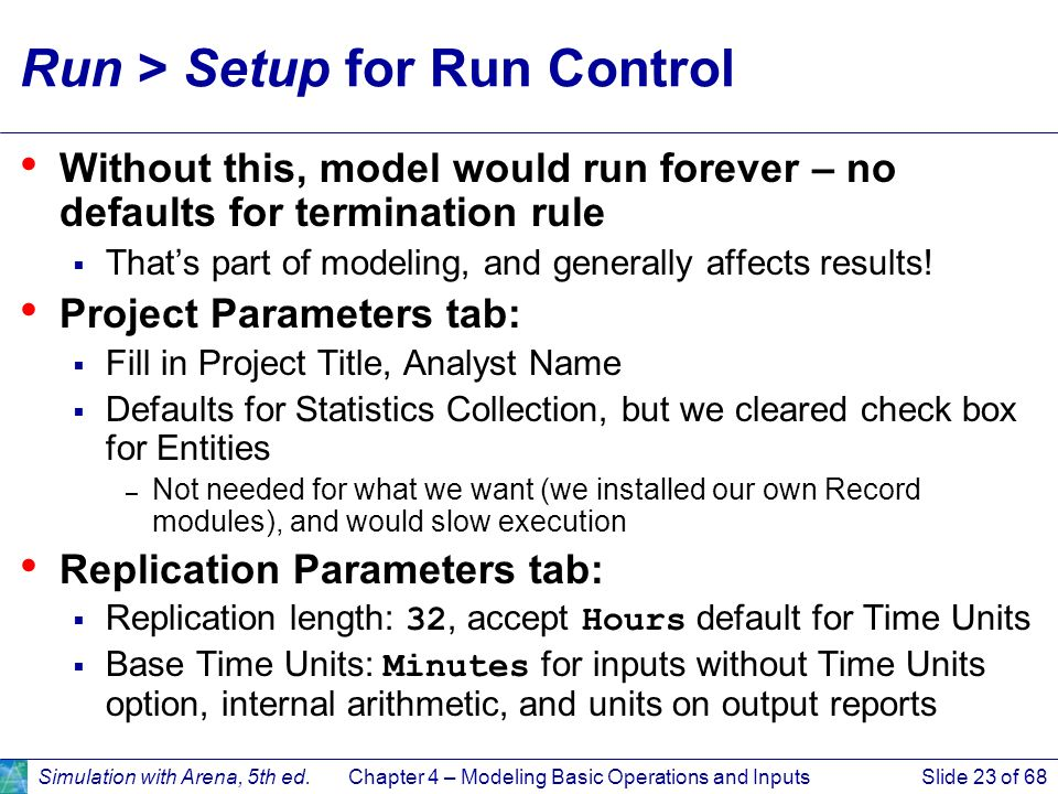 Run > Setup for Run Control