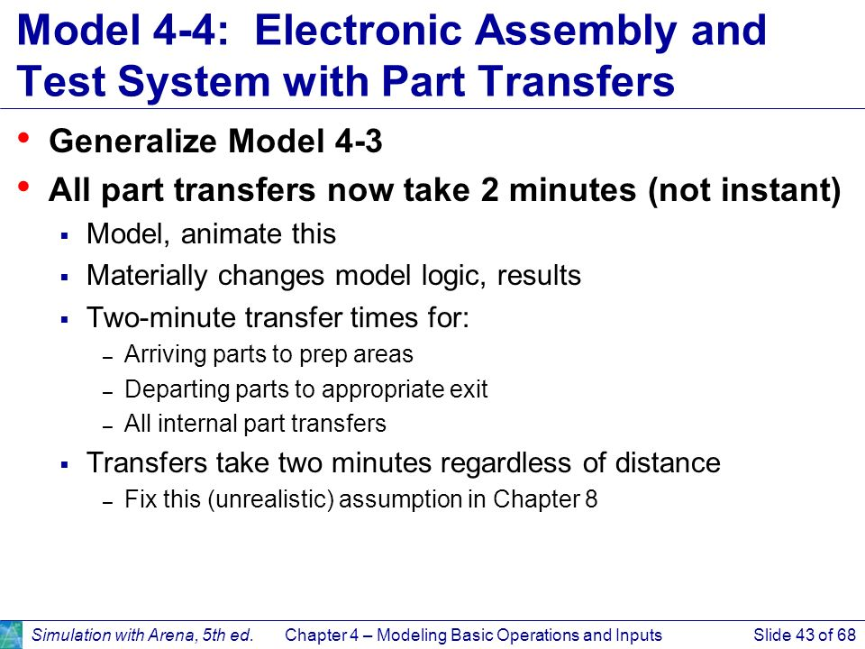 Model 4-4: Electronic Assembly and Test System with Part Transfers