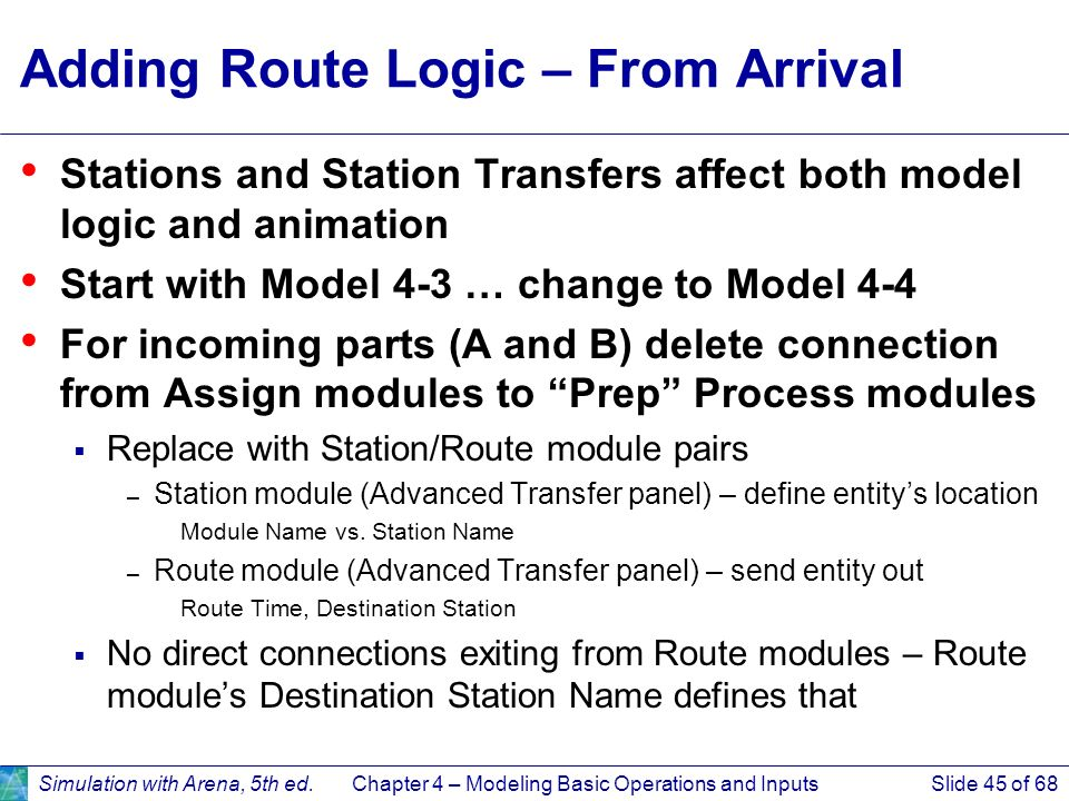 Adding Route Logic – From Arrival