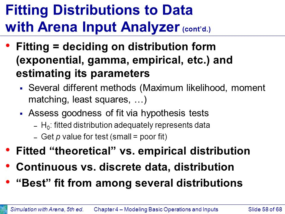 Fitting Distributions to Data with Arena Input Analyzer (cont'd.)