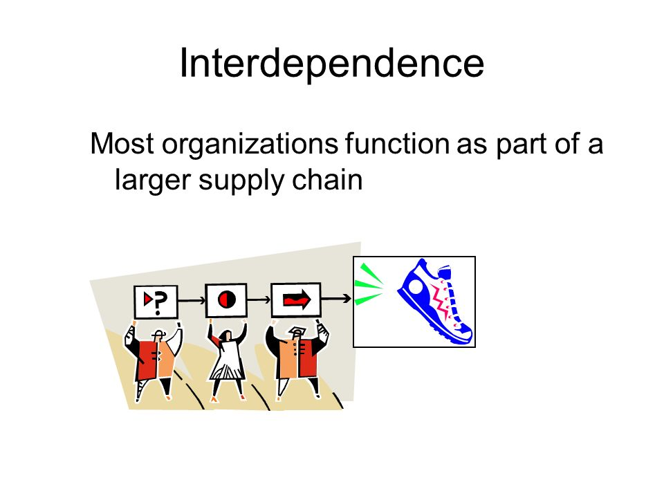 Interdependence Most organizations function as part of a larger supply chain.