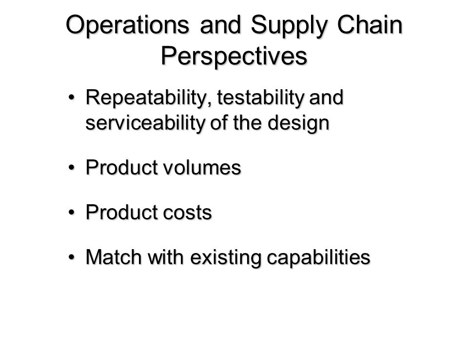 Operations and Supply Chain Perspectives