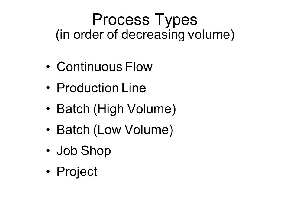 Process Types (in order of decreasing volume)