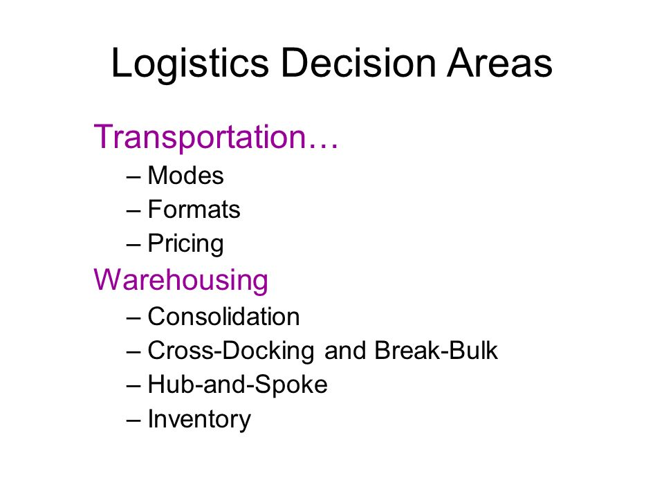 Logistics Decision Areas